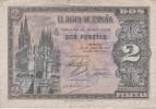 BILLETE DE ESPAÑA DE 2 PTAS  DEL AÑO 1938 SERIE D CALIDAD BC  (BANKNOTE) - [ 3] 1936-1975 : Régence De Franco