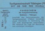 TÜbus Fahrschein: Weilheim-Tübingen, Um 1994, 2,00 DM, Mit Abriß 2 - Busse