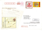 17B: China CNY Chinese New Year,flower Embroiderry Porcelain Plate,RED Meter Torch,postal Stationery Cover - 1949 - ... People's Republic
