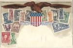 23234 US ART EMBOSSED HERALDRY & MULTI STAMPS POSTAL POSTCARD - Estados Unidos