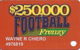 $250,000 Football Frenzy Slot Card - 4 Logos - Casino Cards