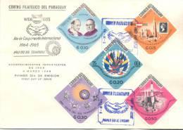 AÑO DE COOPERACION INTERNACIONAL 1964-1965 AÑO DEL SOL TRANQUILO FDC SOBRE PARAGUAY ACONTECIMIENTOS IMPORTANTES DE 1965 - Paraguay