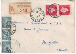 Enveloppe De Fortune Confectionnee Avec Une Partition De Musique , AGUESSAC Aveyron Juin 1945 Recommandee - Marcophilie (Lettres)