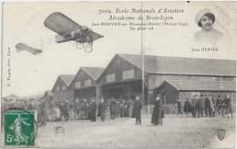 69 - BRON - Rhône - École Nationale D'Aviation - Aérodrome De Bron-Lyon - Jane Herveu Sur Monoplan Blériot - Bron