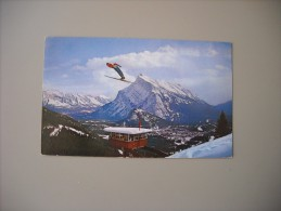 CANADA ALBERTA BANFF SKI JUMP WITH THE JUDGES'TOWER ON MT. NORQUAY SHOWING MT. RUNDLE..... - Banff