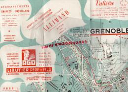 38 - GRENOBLE -  BEAU PLAN GUIDES PRATIQUES GENTIL-BOIREAU- PAPETERIES VIZILLE- LIAUTIER-ALLIMAND-COQUILLARD-BERLIET - Dépliants Touristiques