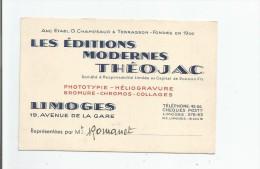 LIMOGES (87) CARTE DE VISITE ANCIENNE DES EDITIONS MODERNES THEOJAC (EDITEURS DE CARTES POSTALES) - Visiting Cards