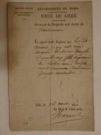 Extrait Du Registre Aux Actes De Naissance Ville De Lille. Acte De Aimée Cambray Née Le 24/03/1799. - Historical Documents