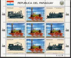 PARAGUAY 1985 TRENI TRAINS BF Da 5 Valori MNH ** - Eisenbahnen