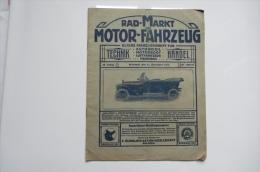 Rare Rad-Markt Und Motor Fahrzeug  Bielefeld 1915 - Automobili & Trasporti