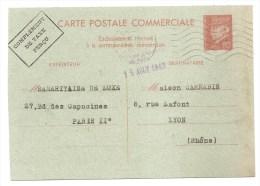 CARTE POSTALE COMMERCIALE,1942 - COMPLEMENT DE TAXE PERCU - Type Pétain - WW2 - Chambre De Commerçe - Entiers Postaux