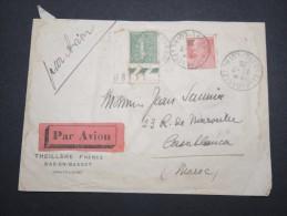 FRANCE - Enveloppe De Bas En Basset Pour Casablanca Par Avion ( étiquette ) En 1928 - A Voir - Lot P13118 - 1921-1960: Modern Period