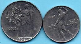 =(r65)  ITALIE /  ITALY  50 + 100 LIRE  1956 - 1946-… : República