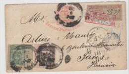 Col105/ Brief, Ascher Kat. 7 F, Bahnpostdienst Nach Paris Mit Zusatzfrankatur + 2 R-Zettel - Kolumbien