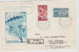 Yu103 / JUGOSLAWIEN -  Fallschirmspringer Wettkampf 1951 (Einschreiben  FDC) - Cartas