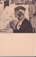 Cartes 1930 D´après JACQUES LE TANNEUR : Pays Basque / Au Cimetière Et Vieux Basque (pipe) - France