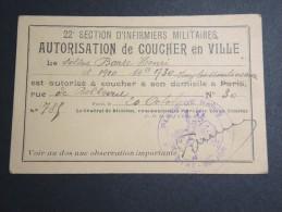 MILITAIRE - Autorisation De Coucher En Ville De Paris En 1918 Pour Un Infirmier Militaire - A Voir - Lot P13141 - Documents
