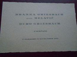 Croatia  Zagreb  -Branka Griesbach - Vjenčani  -marriage  Marie - Wedding  Invitation    1935  D133572 - Engagement