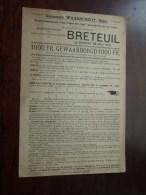 Gemeente WAARSCHOOT ( Beke ) - BRETEUIL 28 Juli 1912 ( Inkorving Leervlucht Arras * Duif / Pigeon ) Form. A4 !! - Announcements