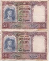 PAREJA CORRELATIVA DE 500 PTAS DEL AÑO 1931 CALIDAD RC SIN SERIE - 500 Pesetas