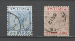 St Lucia 1883-1886 Mi 21 & 28 Plate I Or II ? - St.Vincent (...-1979)