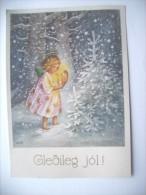 IJsland Iceland Island Gledileg Jol Postcard With Angel - IJsland