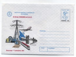 Romania COMPUTER BRIDGE TRAIN AIRPLANE CONGRESS MINT ENVELOPE 1997