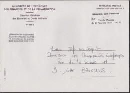 Belgique Vers 1990. Lettre En Franchise De L'école Nationale Des Douanes, Ministère économie - Finances - Privatisation - België