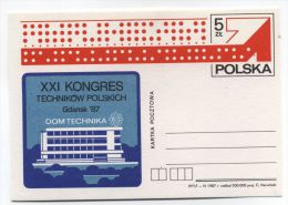 Poland TECHINCAL CONGRESS COMPUTER MINT POSTAL CARD 1987 - Computers