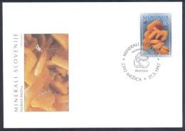 1997 Slovenia Slowenien Slovenie Fdc Cover: Minerals Fossils Wulfenit Wulfenite Mezica - Mineralien