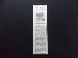 Coupure de Presse Offre PROMO sur Ce Lot Paul McCartney se Marie C Etait le Dernier Beatle C�libataire
