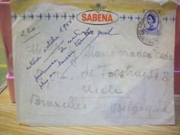 GRANDE BRETAGNE + BELGIQUE:ENVELOPPE AVEC LE LOGO DE LA SABENA ET TIMBRE DE GRANDE BRETAGNE - Autres