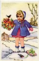 J LAGARDE - Carte Avec Paillette , Enfant Dans La Neige Avec Moineau - Illustrators & Photographers
