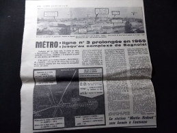 Coupure de presse PROMO voir description M�tro Ligne 3 prolong�e en 1969 jusqu au complexe Bagnolet