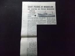Coupure de presse PROMO voir description Saint Pierre et Miquelon un cente de peche Moderne grace au Thalassa