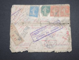 FRANCE - Enveloppe En Recommandée De St Leger Vauban Pour La GB Et Retour ( Tombée En Rebut ) 1918 - A Voir - Lot P13182 - 1921-1960: Modern Period