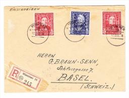 D - BRD 12.3.1951 München R-Brief Nach Basel CH Mit  Mi.# 119(2) +120 - BRD