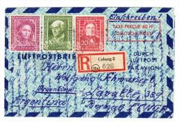 """D - BRD R-Brief Coburg Nach Lavalle Argentinien Mit Mi.#117-119 Und Roter Stempel """"Taxe Perçue 60Pf"""" - BRD"""