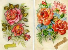 SAINTE CATHERINE - LOT De 4 Cartes - FLEURS , Roses Miosotis, Paillettes - Sainte-Catherine