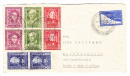 D - BRD 19.12.1949 Nürnberg Fuftpost Brief Nach Süd Afrika Mit Mi.#117-120 Je Senkrechtes Paar - BRD
