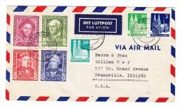 D - BRD 5.1.1950 Frankfurt Luftpost Brief Nach Evansville USA Mit Mi.#117-120  Und Bauten - BRD