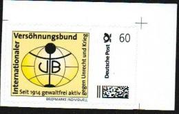 Deutschland Privatpost 0,60€, Eckrand, Briefmarke Individuell, Internationaler Versöhnungsbund - [7] Federal Republic