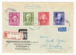 D - BRD 14.4.1950 Stuttgart 3 Brief Nach Günzburg Mit Mi.#117-120 - BRD