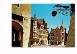 Cpm BIEL - BIENNE - Ringplatz - Publicité Enseigne Oiseau Paon Restaurant Magasin Fauteuil Rotin Osier - Werbepostkarten