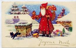 JOYEUX NOEL - Père Noël Avec Sa Hotte De Jouet , Chat Noir , Poupée Ours - Non Classés