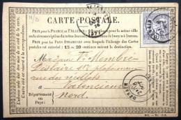 TYPE SAGE + Cachet Type 18 Sur N° 66  --  DENAIN  --  NORD  --  LAC  --  1876 - Marcophilie (Lettres)