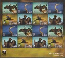 Gambie 2014 Michel 6913/6. Feuillet De 16 WWF. Anhinga D'Afrique, Anhinga Rufa. Oiseau - W.W.F.