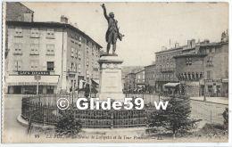 LE PUY - La Statue De Lafayette Et La Tour Panessac (animée - Café Brunel, Bottier) - N° 93 - Le Puy En Velay