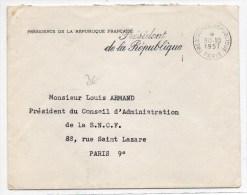 1957 - ENVELOPPE PRESIDENCE DE LA REPUBLIQUE FRANCAISE Avec MECA - Marcophilie (Lettres)