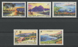POLYNESIE 1964  N° 30/34 ** Neufs = MNH Superbes Cote 28 € Paysages Landscapes Tuamotu Bora Papeete Marquises - French Polynesia